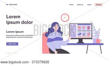 Customer Choosing Food In Online Grocery Store. Woman At Computer, Internet Shop Flat Vector Illustr