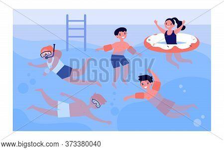 Happy Children In Swimming Pool Isolated Flat Vector Illustration. Cartoon Kids In Swimwear Playing
