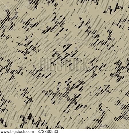 Seamless Vector Patterd Design.  Repeated Graphic Green Circle, Camo Clouds. Khaki Repeated Point Ca
