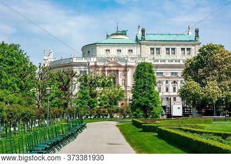 Volksgarten Park And Burg Theater In Vienna, Austria