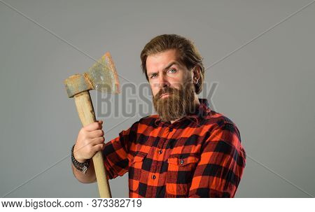 Bearded Man With Old Ax. Bearded Lumberjack. Close Up Portrait Of Man With Ax. Canadian Lumberjack.