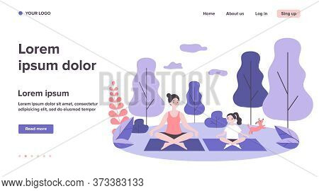 Happy Mom And Daughter Practicing Yoga In Park. Woman And Girl Training Outdoors. Flat Vector Illust