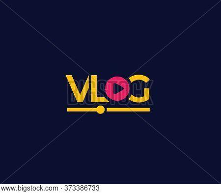 Vlog Vector Logo On Dark, Eps 10 File, Easy To Edit