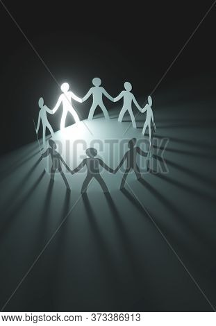 Group Of People, United In The Meeting Of An Organization. Paper Cut Out In The Shape Of People. 3d