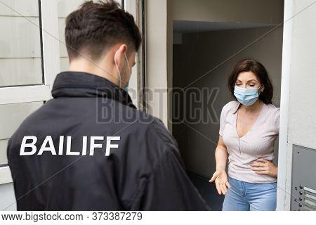 Bailiff Debtors Seizure From Woman In Financial Trouble