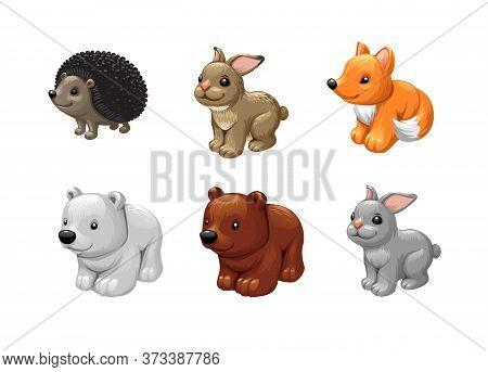 Vector Set Animal Toys, Bear Fox Rabbit Hedgehog Vector.