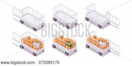 Isometric Set Open Airport Baggage Trailer Baggage Cart, Luggage Carts, Luggage Trolleys Full And Em