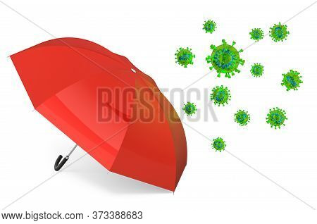 Umbrella With Virus, Protection Concept. 3d Rendering Isolated On White Background