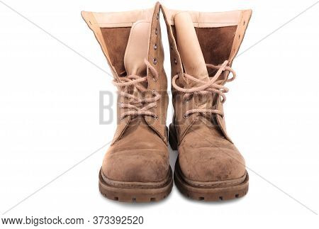 Brown Military Boots On A White Background. Foot Warrior Protection .isolated