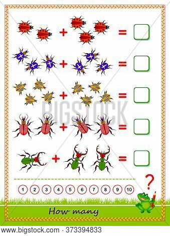 Educational Page For Children On Addition. Exercise Book. Solve Examples, Count The Quantity Of Bugs