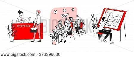 Consulting And Expertise Set. Customers Talking To Receptionist, Bank Consultants. Flat Illustration