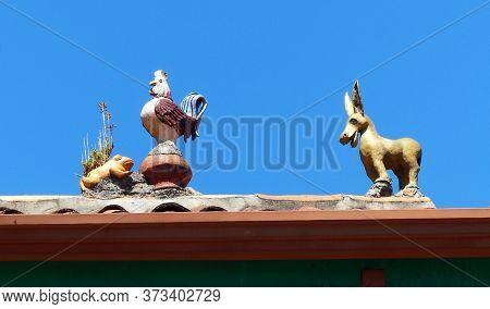 Cuenca, Ecuador - February 5, 2020: Rooftop Decoration In Cuenca, Ecuador