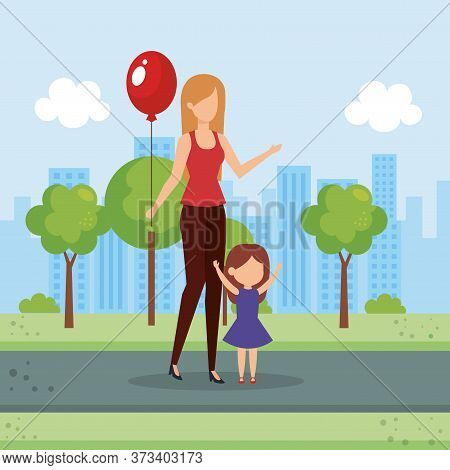 Mother With Daughter And Balloon Helium Vector Illustration Design
