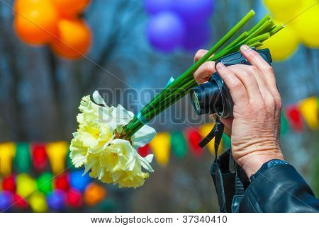 camera and flowers