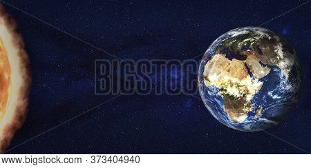 Sun Storm Radiation Flow To Earth Planet In Outer Space. 3d Render Illustration. Elements Of This Im