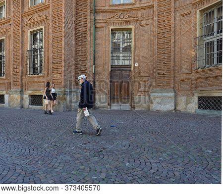 Turin, Italy - Circa June 2020: People In Piazza Carignano Square And Via Accademia Delle Scienze St