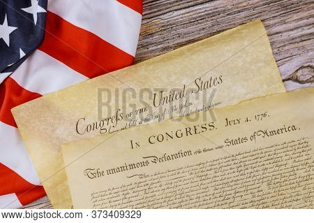 American Constitution Of Vintage Parchment The Document Detail The United States Declaration Of Inde