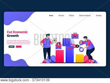 Vector Cartoon Banner Template For Cutting Economic Growth And Gdp During The Crisis. Landing Page A