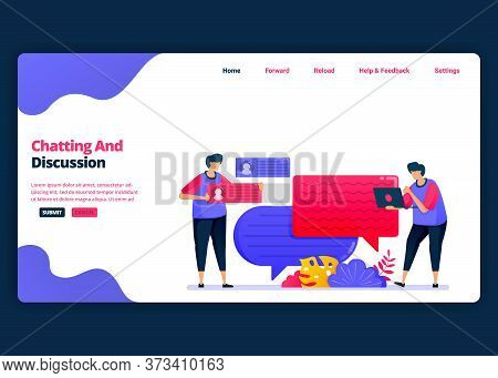 Vector Cartoon Banner Template For Chat And Discussion With Friends And Colleagues. Landing Page And