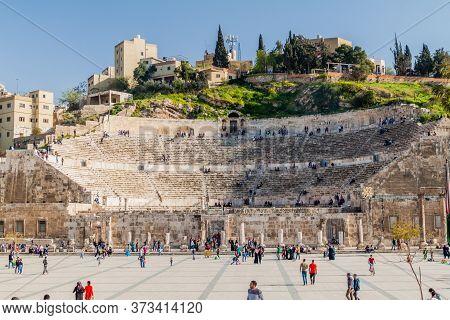 Amman, Jordan - March 31, 2017: View Of The Roman Theatre In Amman.