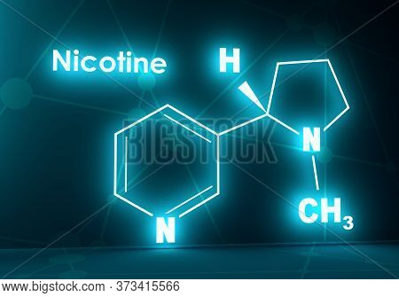 Chemical Molecular Formula Of Nicotine. Connected Lines With Dots Background. 3d Rendering