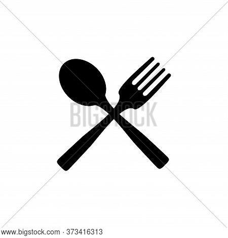Fork And Spoon Black Icon Concept. Plate, Fork And Spoon Vector Illustration, Symbol, Sign, Fork Spo