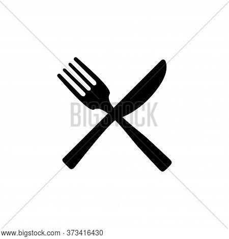 Fork And Knife Black Icon Concept. Plate, Fork And Knife Vector Illustration, Symbol, Sign, Fork Kni
