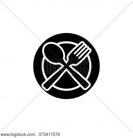 Plate, Fork And Spoon Black Icon Concept. Plate, Fork And Spoon Vector Illustration, Symbol, Sign, F