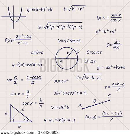 Notebook Sheet With Science Geometry Formulas Template For Your Design