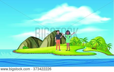 Couple Is Enjoying Picnic On Islands Art