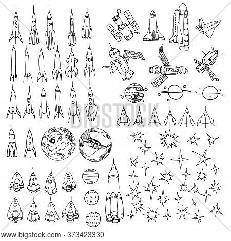Set Of Interstellar Elements, Rockets, Shuttle, Planets, Stars, Telescope, Spaceships, Doodle With B