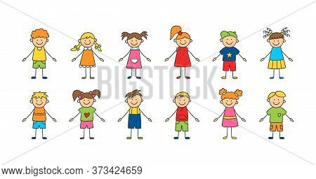 Set Of Funny Children. Happy Cute Doodle Kids. A Set Of Isolated Characters. Vector Illustration In