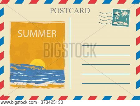 Postacrd Summer Vintage Sunset Ocean. Vacation Travel Design Card With Postage Stamp. Vector Illustr