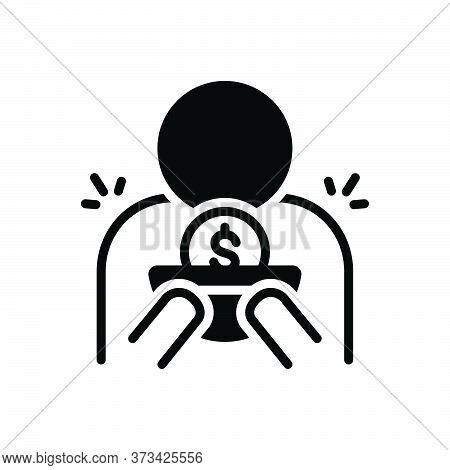 Black Solid Icon For Indigent Beggarly Penniless Needy Straitened Necessitous Rich