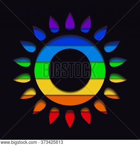 Paper Cut Silhouettes Of The Sun With Layered Rainbow Background. Pride Month. Shining Love To All.