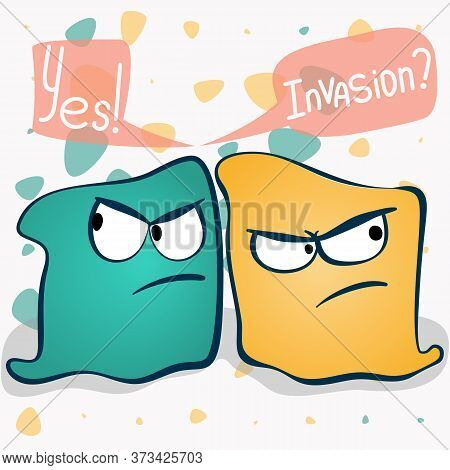 Microorganism And Primitive Infection Virus In Cartoon Style