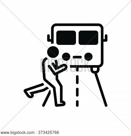 Black Solid Icon For Impediment Obstacle Obstruction Hindrance Interrupt Person Across-the-truck