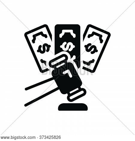 Black Solid Icon For Impose Inflict Foist Forfeit Penalty Fine Mulct Surcharge