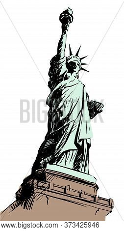 Statue Of Liberty Hand Drawn Vector Sketch