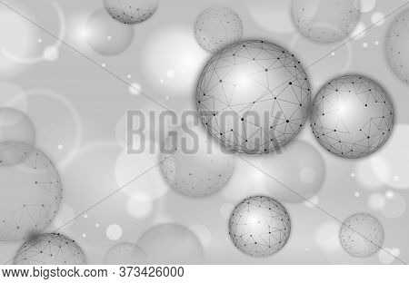 3d Nanotechnology Fullerene Texture Cyberspace. Nano Fiber Chemical Modern Material Design. Atom Mol