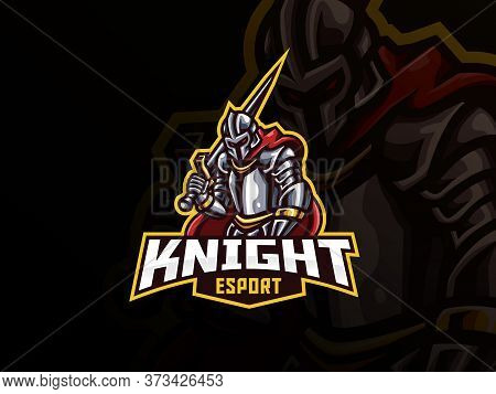 Knight Mascot Sport Logo Design. Iron Knight Mascot Vector Illustration Logo. Warrior Mascot Design,