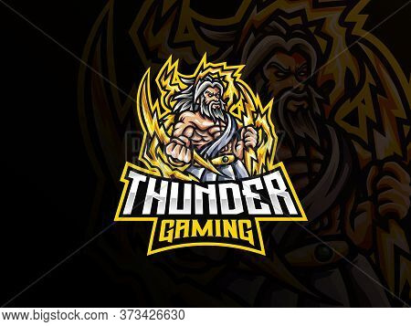 Zeus Mascot Sport Logo Design. Zeus Mythology Mascot Vector Illustration Logo. Zeus Thunderbolt Gods
