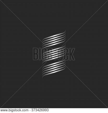 Initial Letter E Logo Modern Creative Abstract Monogram, Metallic Smooth Thin Lines Three Stripes, E
