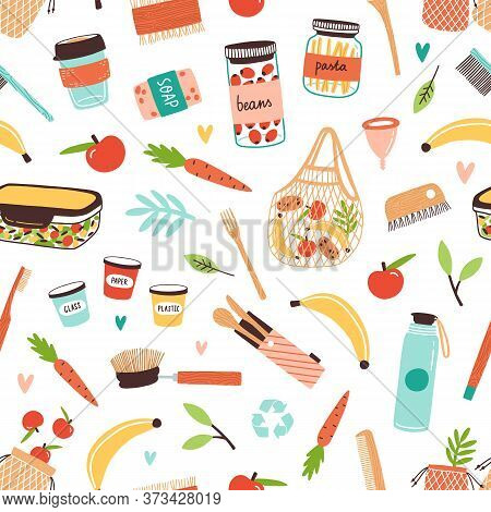 Colorful Zero Waste Durable And Reusable Goods And Vegan Food Seamless Pattern. Eco Friendly Items O