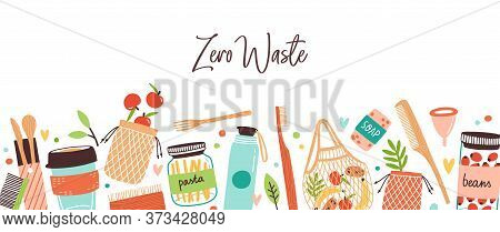 Colorful Background With Zero Waste Durable And Reusable Items Or Products. Elements Of Eco Friendly