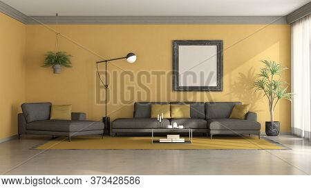 Black And Yellow Minimalist Living Room With Sofa,chaise Lounge And Floor Lamp - 3d Rendering