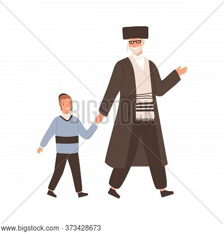 Positive Jewish Family Grandfather And Grandchild Vector Flat Illustration. Happy Elderly Man And Ch