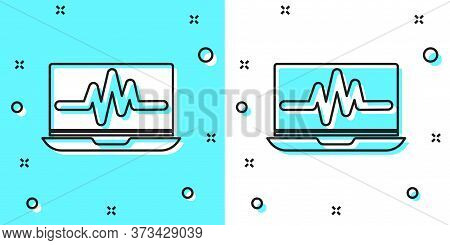 Black Line Laptop With Cardiogram Icon Isolated On Green And White Background. Monitoring Icon. Ecg