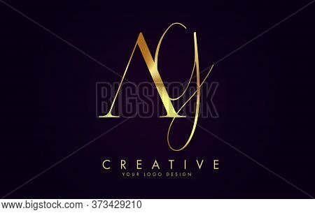 Golden Luxury Ag A G Letters Logo Design And Golden Texture Vector Illustration. Icon With Letters A