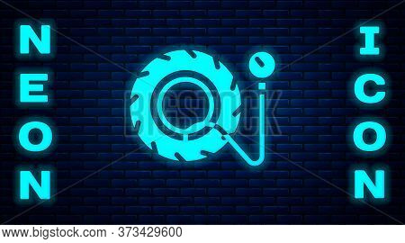 Glowing Neon Tire Pressure Gauge Icon Isolated On Brick Wall Background. Checking Tire Pressure. Gau
